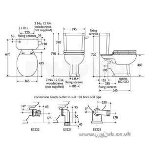 Ideal Standard Wc Seats -  Ideal Standard Plaza E9071 Seat And Cover Cp Hinges Bk