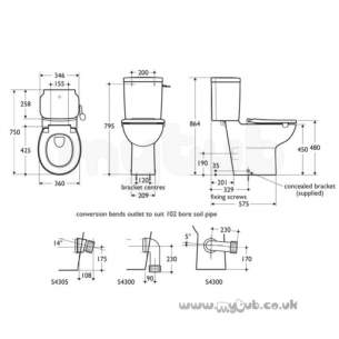 Armitage Shanks Commercial Sanitaryware -  Armitage Shanks Contour 21 C/c Pan Only 46cm Hi White 75 Proj