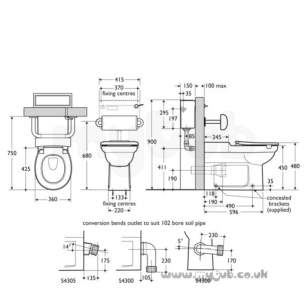 Armitage Shanks Commercial Sanitaryware -  Armitage Shanks S688467 Cushion Back Support Sc