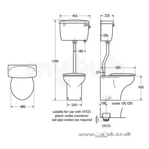 Armitage Entry Level Sanitaryware -  Armitage Shanks Compact S3900 Side Supply Intl Ovf Cistern Wh