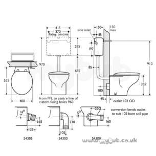 Armitage Shanks Commercial Sanitaryware -  Armitage Shanks Junior Profile S3455 Btw Pan White