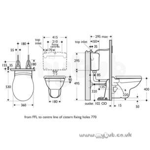 Armitage Shanks Commercial Sanitaryware -  Armitage Shanks Melrose S3610 P Trap Wc Pan Wh
