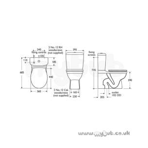 Armitage Entry Level Sanitaryware -  Armitage Shanks Halo S4199 Dual Flush P/button Cistern Wh S419901