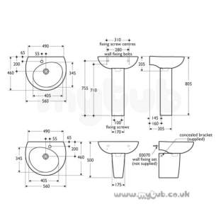 Ideal Standard Create -  Ideal Standard Drift E3082 560 X 460mm One Tap Hole Right Hand Basin White