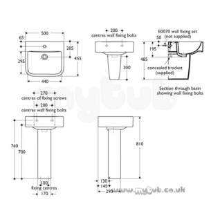 Ideal Standard Create -  Ideal Standard Square E3100 500 X 450mm One Tap Hole Basin White