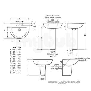 Ideal Standard Create -  Ideal Standard Edge E3028 600 X 480mm Two Tap Holes Basin White