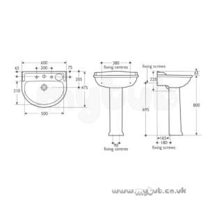 Ideal Standard Brassware -  Ideal Standard Kingston 610 Monoblock Basin Mixer Lg