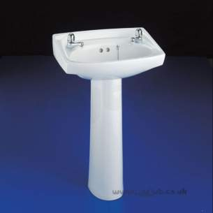 Armitage Shanks Commercial Sanitaryware -  Armitage Shanks Royalex S2170 560mm Two Tap Holes Basin Wh
