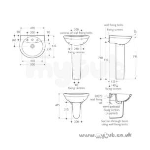 Ideal Standard Alto -  Ideal Standard Alto E7446 500mm Two Tap Holes Basin White