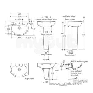 Ideal Standard Space -  Ideal Standard Space E7132 One Tap Hole Right Hand O/set Corner Basin Wh