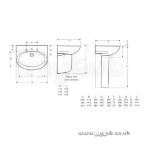 Armitage Entry Level Sanitaryware -  Armitage Shanks Tiffany S208601 610mm Two Tap Holes Basin Wh-special