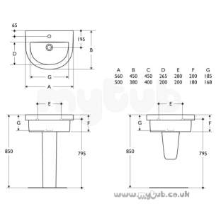 Ideal Standard Washpoint -  Ideal Standard Washpoint R3186 One Tap Hole 56cm Apron Basin Wh