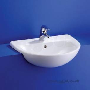 Ideal Standard Create -  Ideal Standard Edge E3048 560 X 450mm Two Tap Holes Semi-countertop Basin White