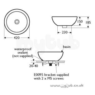 Ideal Standard Create -  Ideal Standard Edge E3025 420 X 420mm Vessel Basin White