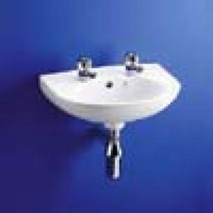 Armitage Entry Level Sanitaryware -  Armitage Shanks Tiffany S2765 455mm Two Tap Holes Basin Wh