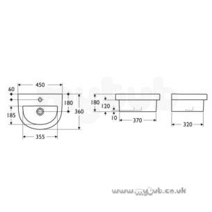 Ideal Standard Washpoint -  Ideal Standard Washpoint R4214 One Tap Hole H/r 450 Apr Basin Wh Special