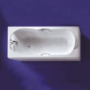 Ideal Standard Acrylic Baths -  Ideal Standard Alto 1700 X 750mm Two Tap Holes Bath Plus Chrome Plated Grips White