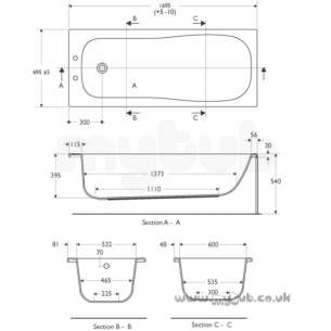 Ideal Standard Create Acrylic Baths -  Ideal Standard Create E3294 1700 X 700mm No Tap Holes Bath White