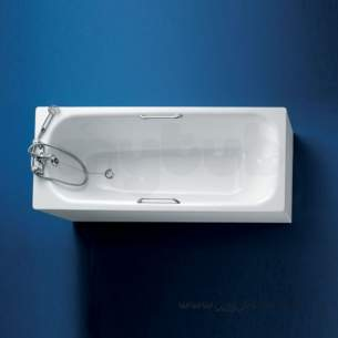 Armitage Shanks Steel Baths -  Armitage Shanks Nisa S186801 1500mm Two Tap Holes Steel Bath Wh