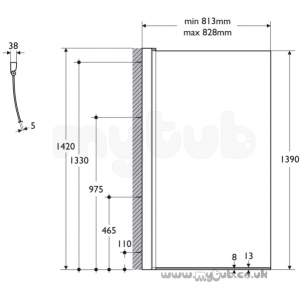 Ideal Standard Shower Doors and Panels -  Ideal Standard Alto E7607 800 Unhanded Bath Screen Slv