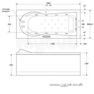 Ideal Standard Art and design Baths -  Ideal Standard Www T8998 1800 X 800 Left Hand Bath Nth Inc Pnl Wh
