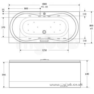 Ideal Standard Art and design Baths -  Ideal Standard Aqua Duo 1800 X 800 No Tap Holes Bath Inc Waste And Pnl Wh
