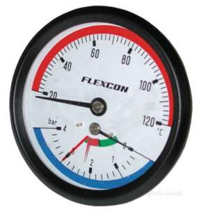 Flamco Sealed System Equipment -  Flexcon Thermo/pressure Gauge 1/2 Inch Back