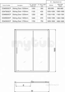 Twyford Es400 Sliding Door 1700mm