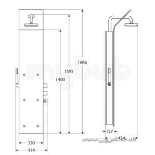 Ideal Standard Showers -  Ideal Standard Trevi T934759 Bop375 Shower Totem Metal