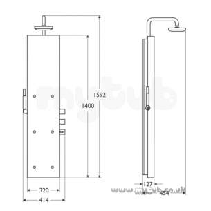 Ideal Standard Showers -  Ideal Standard Trevi T934459 Bop350 Shower Totem Metal