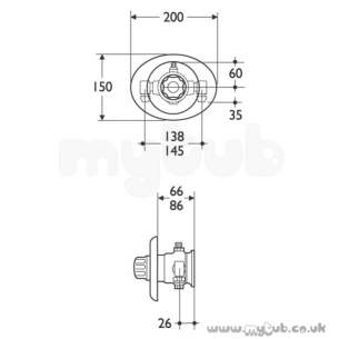 Armitage Shanks Commercial Brassware -  Armitage Shanks Nuastyle S7815 Conc Thrm Shower Valve Cp