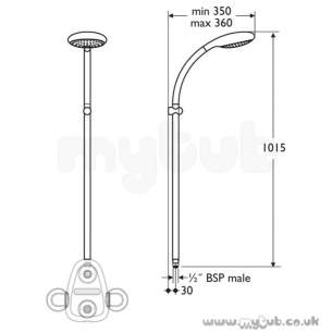 Ideal Standard Showers -  Ideal Standard M/shadow L6807 Fre S/f Fixed Riser Chrome Plated Special