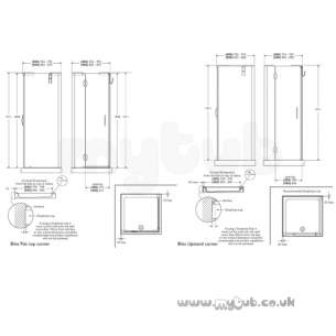 Bliss Shower Enclosures -  Armitage Shanks Bliss L8900 800mm Cnr Enc Lh And F/pnl Cl