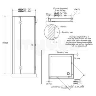 Bliss Shower Enclosures -  Armitage Shanks Bliss L9167 800mm Left Hand Cornr Entry Clr/slv