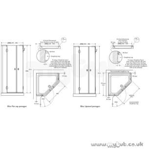 Bliss Shower Enclosures -  Armitage Shanks Bliss L9180 900mm Pent Enc Left Hand And I/pnl Cl