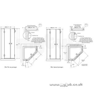 Bliss Shower Enclosures -  Armitage Shanks Bliss L8920 900mm Pent Enc Lh And I/pnl Cl