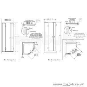 Bliss Shower Enclosures -  Armitage Shanks Bliss L9178 900mm Right Hand Quadrant Clr/ Slv