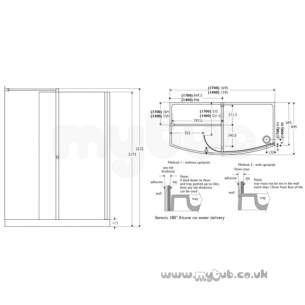 Ideal Standard Acrylic Shower Trays -  Ideal Standard Serenis 180 Alcove L8375 1400mm Enclosure N/del Ch