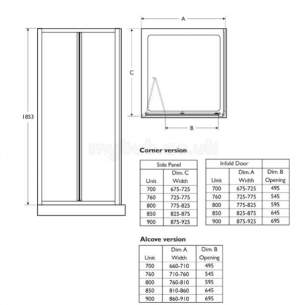 Trevi Shower Enclosures -  Ideal Standard Connect L8060aa Infold Door 850 Frame Sil Clr