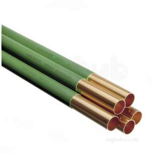 Copper Tube Table Z kuterlite and Chrome -  Green Kuterlex 6 Metre Green Plastic Coated Copper Tube 22mmx0.9mm