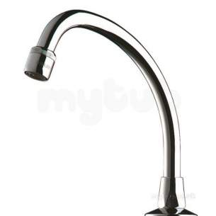 Delabie Basin Taps -  Delabie Swivel Swan Neck Spout M1/2 Inch L200 H200 Adj Flow Straightener