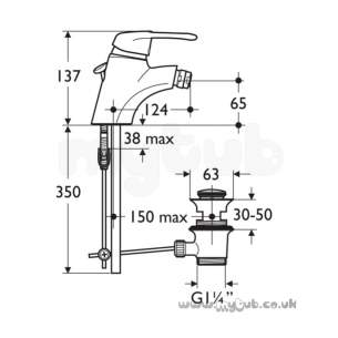 Ideal Standard Brassware -  Ideal Standard Idyll Two A2795aa One Tap Hole Single Lvr Bidet Mixer