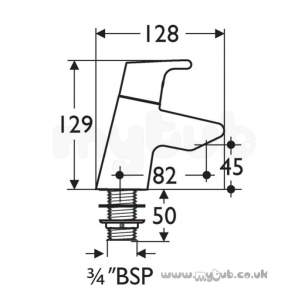 Ideal Standard Brassware -  Ideal Standard Active B8076 Bath Pillar Taps Pair Cp