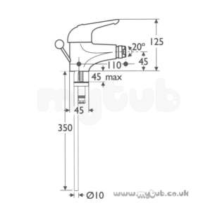 Ideal Standard Brassware -  Ideal Standard A1397 618 Tratto Mono Bidet Mixer Puw Cp
