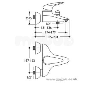 Ideal Standard Brassware -  Ideal Standard Ceramix Alto A5018 Wall Mounted Bath/shr Mixer Cp