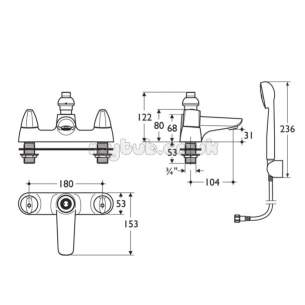 Ideal Standard Brassware -  Ideal Standard Ceraplan Disc B8255 2th Bsm And Kit Cp
