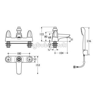 Ideal Standard Brassware -  Ideal Standard Ceraplan Duo B8259 2th Bsm And Kit Cp
