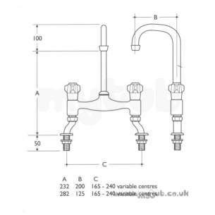 Armitage Shanks Commercial Brassware -  Armitage Shanks S7970 S/down Dual Flow Pillar Fitting Cp