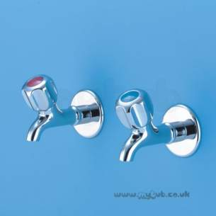 Armitage Shanks Commercial Brassware -  Armitage Shanks Nuastyle 2 S7110 1/2 Inch Bib Taps Pair Cp