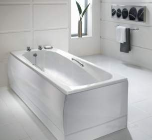 Jacuzzi Acrylic Baths and Panels -  Jacuzzi Pro Wbsproepo300 White Epos No Tap Hole Bath With Chrome Grips 1700x700mm